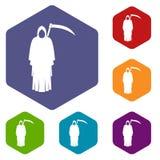 Śmierć z kos ikonami ustawia sześciokąt ilustracji