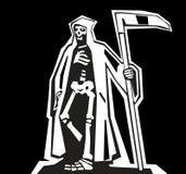 Śmierć z scytheman Płaska ilustracja na ciemnym tle ilustracja wektor