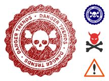Śmiertelny niebezpieczeństwo trendów Watermark z Brudną powierzchnią ilustracji