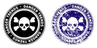 Śmiertelny niebezpieczeństwo trendów znaczek z cierpienie skutkiem ilustracji