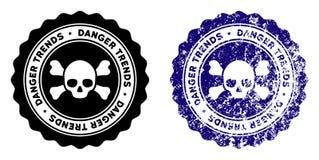 Śmiertelny niebezpieczeństwo trendów znaczek z Grungy teksturą ilustracja wektor