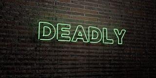 ŚMIERTELNY - Realistyczny Neonowy znak na ściana z cegieł tle - 3D odpłacający się królewskość bezpłatny akcyjny wizerunek ilustracji