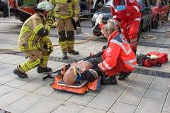 Śmiertelny wypadek uliczny - osoba łapać w pułapkę Obraz Royalty Free