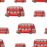 Śmieszna śliczna ręka rysujący dzieciak zabawki transport Dziecko jaskrawej kreskówki autobusowy wektorowy bezszwowy wzór na biał Fotografia Royalty Free