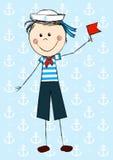 Śmieszna żeglarz chłopiec ilustracji