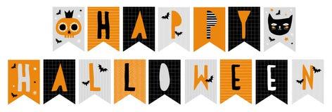 Śmieszna Abstrakcjonistyczna ręka Rysująca Halloweenowa chorągiewka Zaznacza wektoru set royalty ilustracja