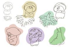 Śmieszna akcyjna ilustracja Historia miłosna pieczarka i podrożec Obraz Stock