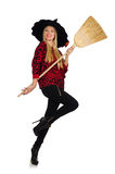 Śmieszna czarownica z miotłą odizolowywającą Zdjęcie Stock