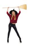 Śmieszna czarownica z miotłą odizolowywającą Fotografia Stock