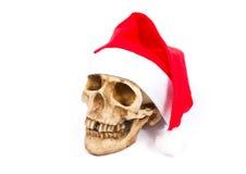 Śmieszna czaszka w kapeluszowym Święty Mikołaj odizolowywającym na białym tle Obrazy Royalty Free
