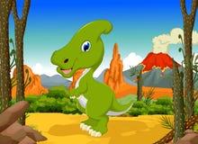 Śmieszna dinosaura Parasaurolophus kreskówka z lasu krajobrazu tłem Fotografia Stock