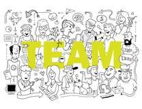 śmieszna drużyna Grupa Śmieszni ludzie w Doodle stylu ilustracji