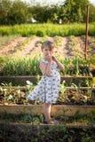 Śmieszna dzieciak dziewczyna w jarzynowym ogródzie fotografia stock