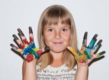 Śmieszna dziewczyna malująca Zdjęcie Stock