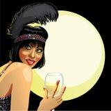 Śmieszna dziewczyna z szkłem szampan. Księżyc tło Obraz Royalty Free