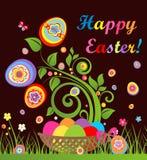 Śmieszna Easter karta z drzewem i koszem z kolorowymi jajkami ilustracji
