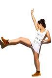 Śmieszna elegancka wzorcowa dziewczyna w przypadkowym nowożytnym modnisia płótnie Obraz Stock