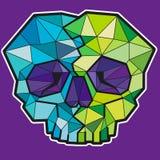 Śmieszna geometryczna kolorowa czaszka Wektorowa ikona lub majcher ilustracja wektor