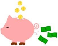Śmieszna humor kreskówki prosiątka pieniądze banka pojęcia ilustracja royalty ilustracja