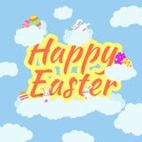 Śmieszna i Kolorowa Szczęśliwa Wielkanocna kartka z pozdrowieniami z, może używać dla Easter dnia sztandaru ilustracji