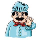 Śmieszna ilustracja szczęśliwy szef kuchni z wąsem Fotografia Royalty Free