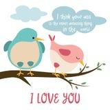 Śmieszna karta z ptakami w miłości ilustracji