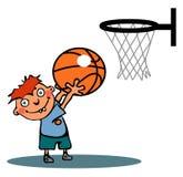śmieszna koszykówki chłopiec Obraz Royalty Free