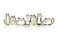 Śmieszna kot rodzina dla twój projekta royalty ilustracja