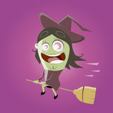 Śmieszna kreskówki czarownica Zdjęcia Royalty Free