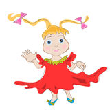 Śmieszna kreskówki dziewczyna wita rękę. Obraz Royalty Free