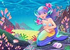 Śmieszna kreskówki syrenka w seascape ilustracja wektor