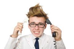 Śmieszna lekarka odizolowywająca Zdjęcia Stock