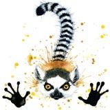 Śmieszna lemur akwarela ilustracji