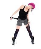 Śmieszna młoda kobieta w wojskowych butach i różowym kapeluszu Zdjęcie Royalty Free