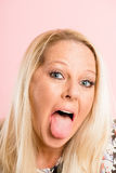 Śmiesznego kobieta portreta menchii tła wysokiej definici istni ludzie Obrazy Stock