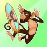 Śmieszna małpa ono odbija w lustrze Obraz Stock
