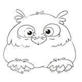 Śmieszna postać z kreskówki sowa Wektorowa kolorystyki książka Kontur na białym tle Zdjęcie Royalty Free