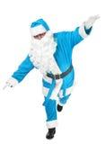 Śmieszna poza błękitny Santa Claus Zdjęcie Stock