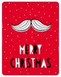 Śmieszna Prosta Bożenarodzeniowa wektor karta Biały Święty Mikołaj wąs na Czerwonym Śnieżnym tle ilustracja wektor