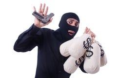 Śmieszna przestępca z pistoletem odizolowywającym Obrazy Royalty Free