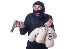 Śmieszna przestępca z pistoletem odizolowywającym Zdjęcie Royalty Free