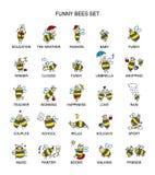 Śmieszna pszczoły kolekcja, nakreślenie dla twój projekta Zdjęcie Stock