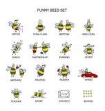 Śmieszna pszczoły kolekcja, nakreślenie dla twój projekta Zdjęcia Stock