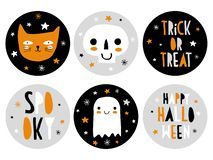 Śmieszna ręka Rysować Halloweenowe cukierku baru etykietki royalty ilustracja