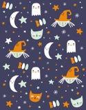 Śmieszna ręka Rysujący Halloweenowy wektoru wzór royalty ilustracja