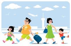 Śmieszna rodzina w lotnisku iść na wakacje ilustracja wektor