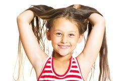 Śmieszna rozochocona mała dziewczynka Obraz Stock