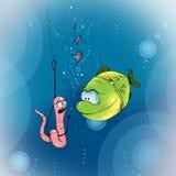 Śmieszna ryba i dżdżownica Zdjęcie Royalty Free