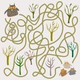 Śmieszna sowa labityntu gra dla Preschool dzieci ilustracji