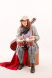 Śmieszna starsza dama bawić się bongo Zdjęcie Royalty Free